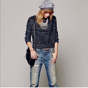 FREE PEOPLE Chunky Knit Boxy Wool Sweater